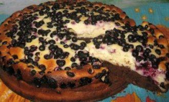 Шоколадный творожный пирог с черникой