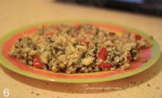 Рис с овощами и шпинатом