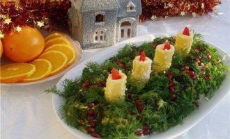 Салат Новогодние свечи на поляне рецепт